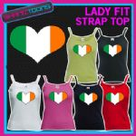 LADIES WOMENS LADY FIT STRAP TOP TSHIRT IRELAND IRISH FLAG LOVE HEART RUGBY